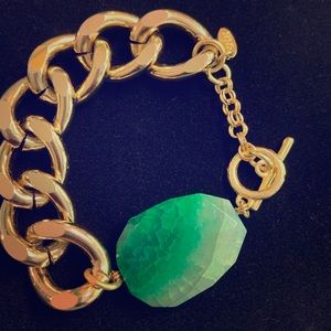 Gold and Green Stone Chain Bracelet